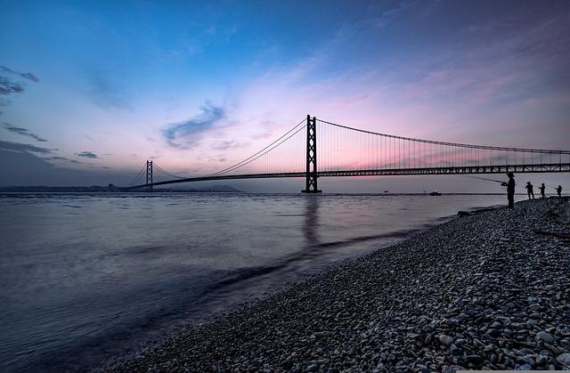 The Akashi-kaikyo Bridge, Sea, Silhouette