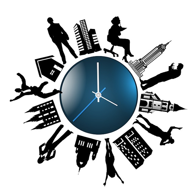 Human, Clock, Time, Silhouettes, Building, Cities