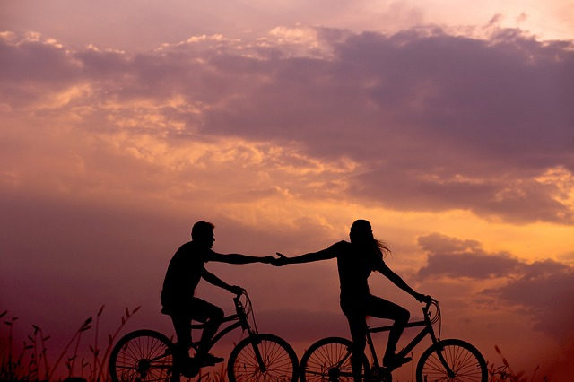 Bicycles, Couple, Silhouettes, Biking, Bicycle Ride