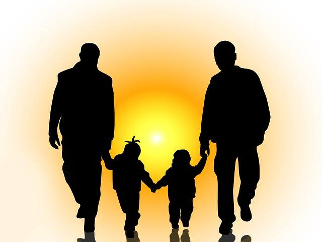 Homosexuality, Partnership, Men, Children, Silhouettes