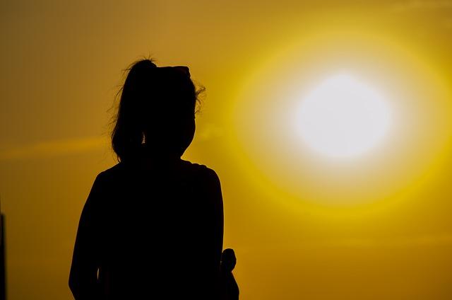 Evening, Sun, Sunset, Sky, Girl, Silhouettes