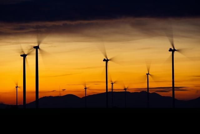 Wind Turbines, Silhouettes, Sunset, Dusk, Twilight