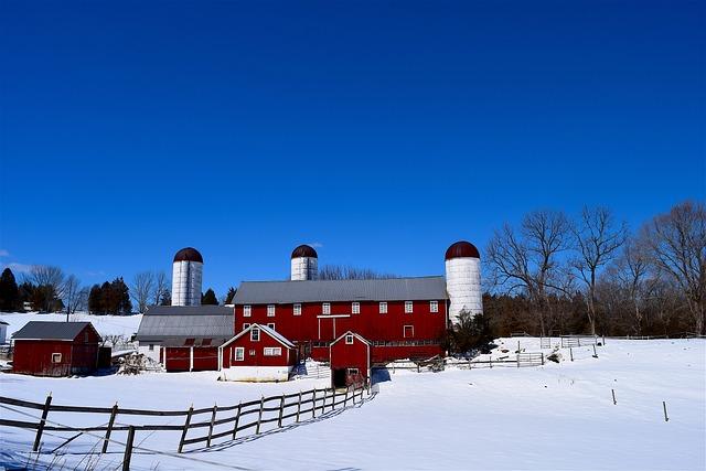 Farm, Snow, Silo, Barn, Fence, Wooden, Winter, Nature