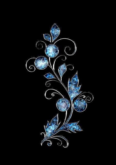 Decor, Ornament, Jewelry, Flower, Blue, Silver