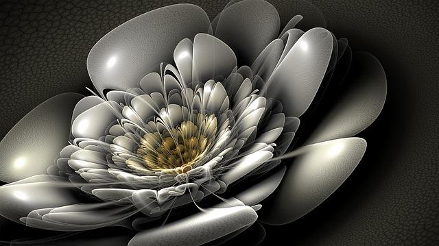 Fractal, Silver, Flower, Bloom, Floral, Fractal Art