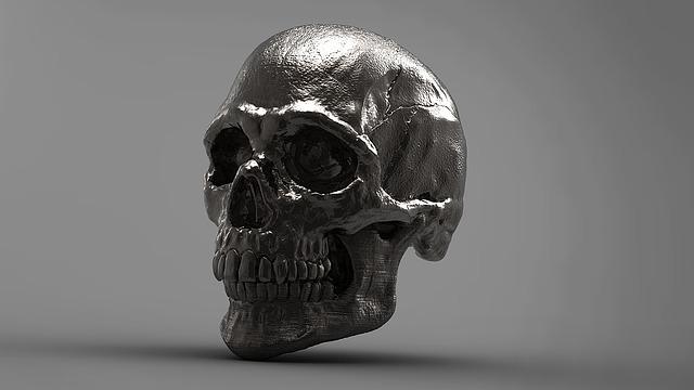 Silver, Skull, 3d, Skeleton