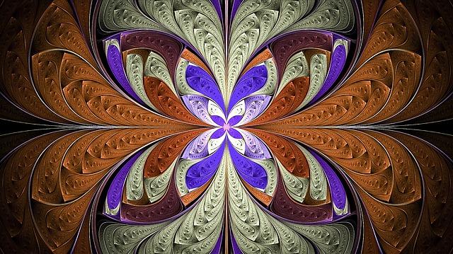 Fractal, Splits, Silver, Gold, Geometric, Pattern
