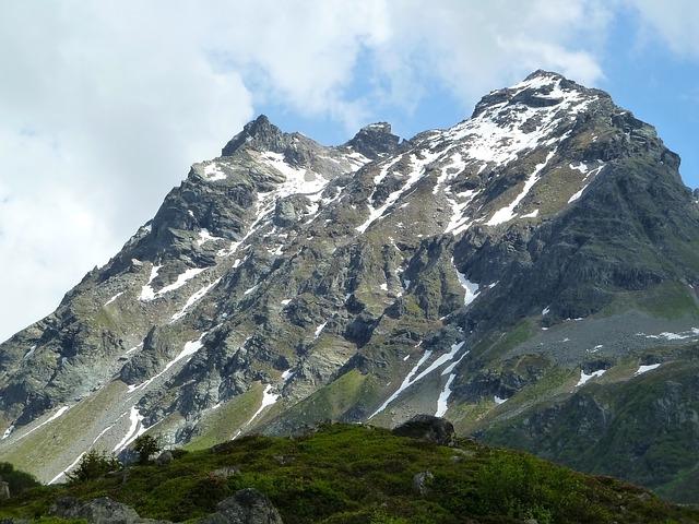 Snow, Mountain, Silvretta, Austria, Summer, Rock, Cloud