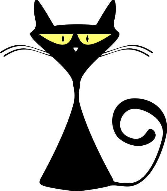 Cat, Silhouette, Simple, Funny, Cartoon, Animal, Feline