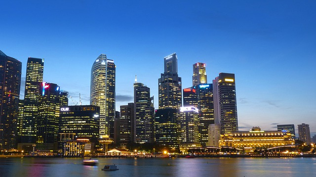 Singapore, River, Skyline, Building, Water, Blue Sky