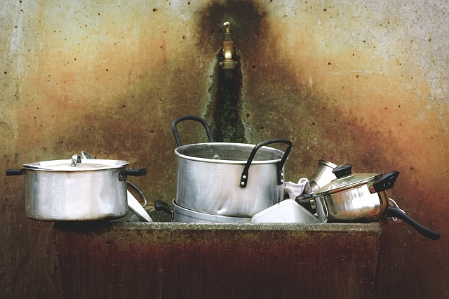 Cooking Pots, Cookware, Pots, Sink, Stainless Steel