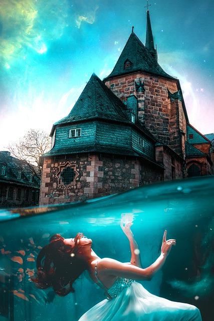 Castle, Building, Sky, Sinking, Bottom, Girl