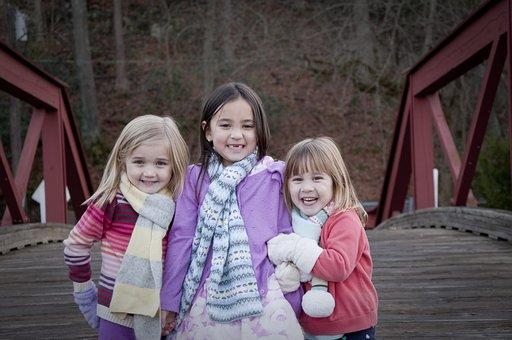Sisters, Bridge, Winter, Scarves, Sibling, Childhood