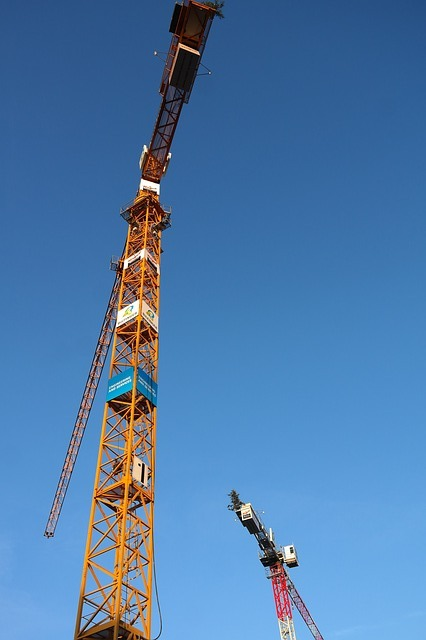 Baukran, Crane, Build, Site, Sky, Construction Work