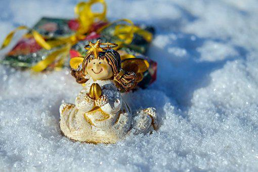Christmas Angel, Fig, Angel, Sitting, Snow, Cold