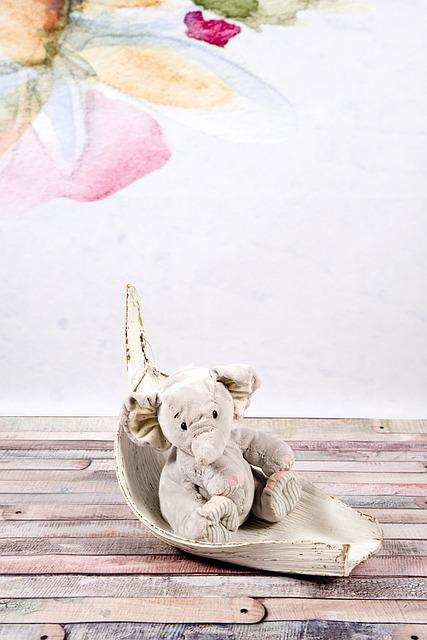 Elephant, Plush, Gray, The Mascot, Sitting, Studio