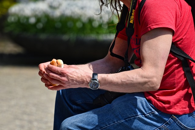 Man, Arm, Hand, Finger, Holding, Sitting, Hotdog, Food