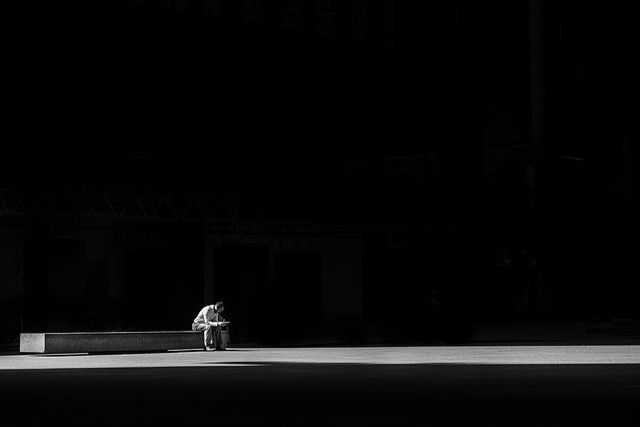 Dark, Light, Man, Person, Sitting, Solo