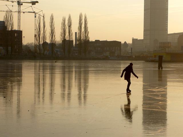Rummelsburg Bay, Berlin, Winter, Ice, Skate, Skater