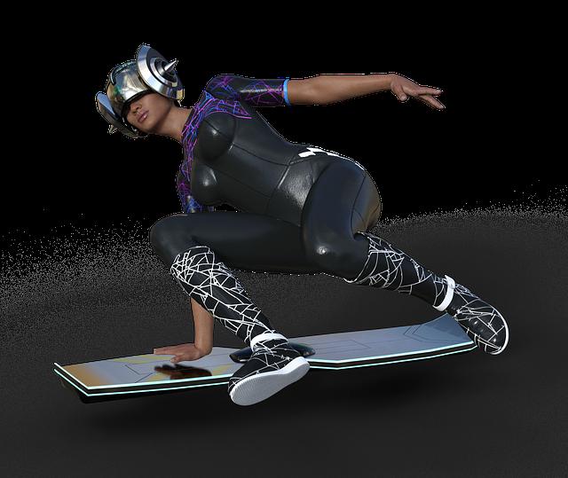 Airboard, Bodysuit, Woman, Helm, Skateboard, Sci Fi