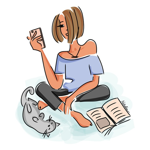 Vacation, Output, Reading, Girl, Cat, Cellphone, Sketch