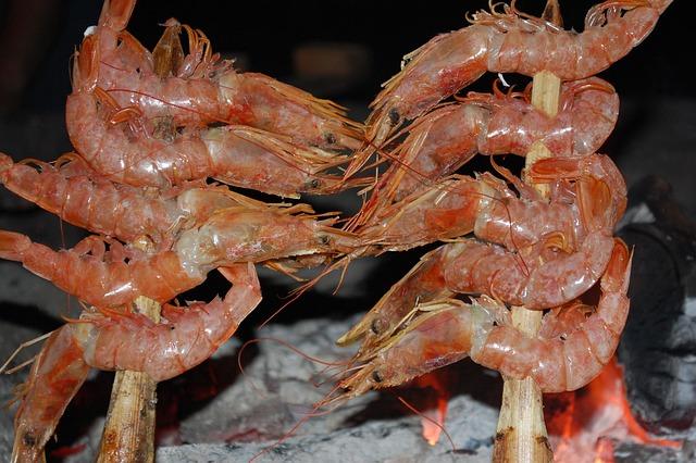 Spain, Andalusia, Shrimps, Skewers, Moraga, Marbella