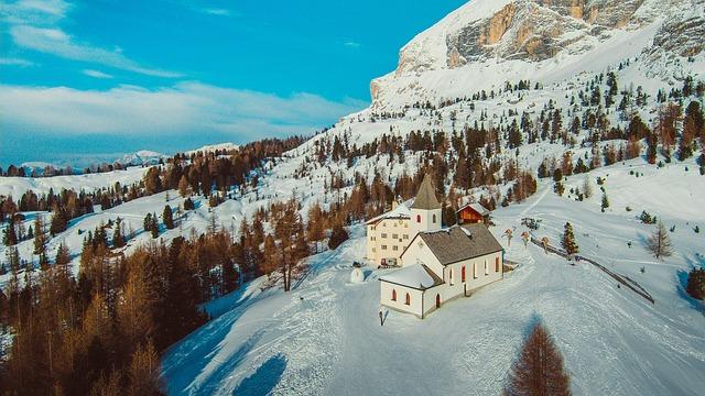 Italy, Alta Badia, Alpine, Ski, Drone, Yuneec, Church