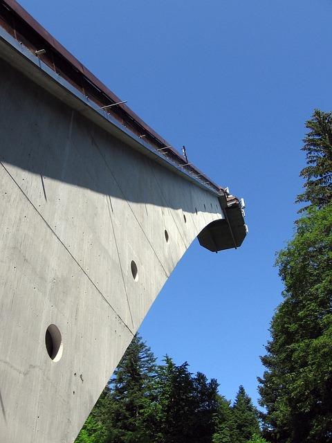 Oberstdorf, Ski Jump, Hill, Sky, Building, Sport