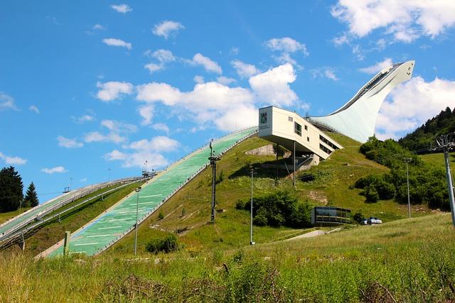 Ski Jump, Ski Jumping, Landscape, Hill, Summer