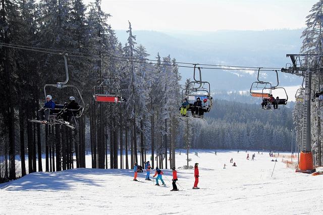 Skiing Area, Chair Lift, Skiers, Ski Resort