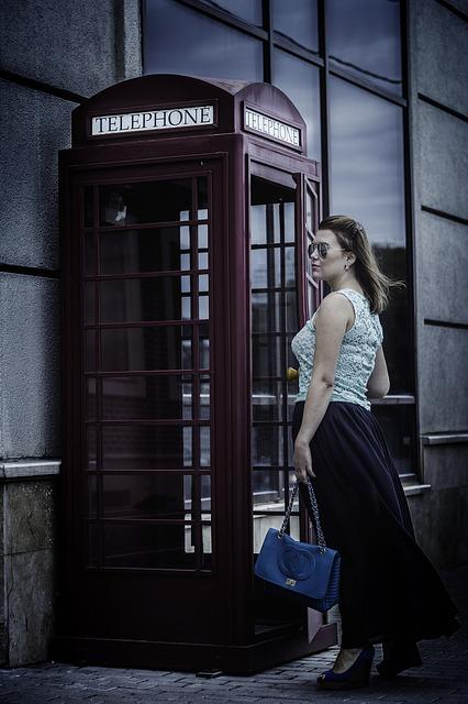 Phone Booth, Phone, London, Fog, Girl, Dress, Skirt