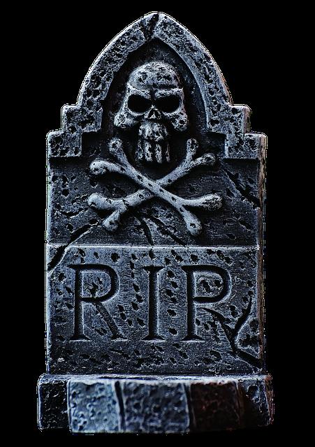 Halloween, Tombstone, Grey, Skull And Crossbones