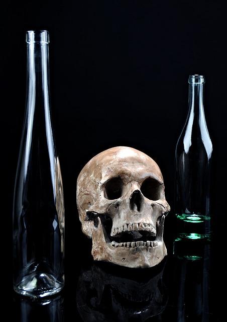 Death, Skull, Glass, Dark, Composition, Bottle, Black
