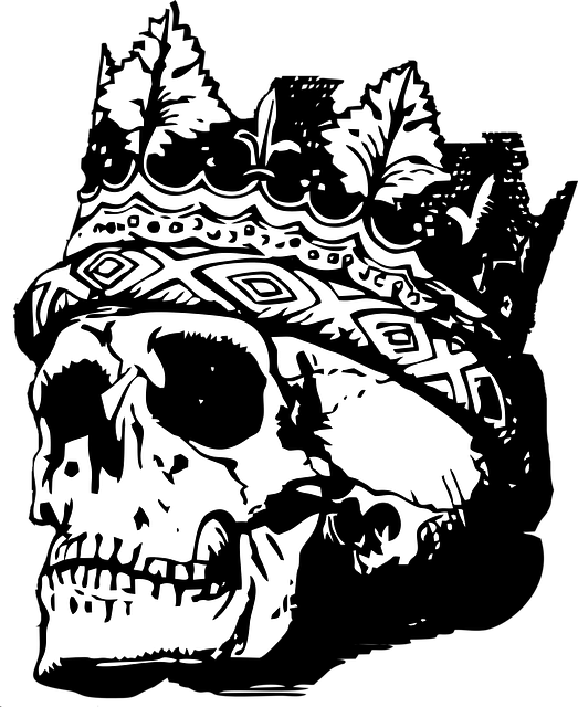 Skull With Crown, Skull, Crown, Death, Vintage, Retro