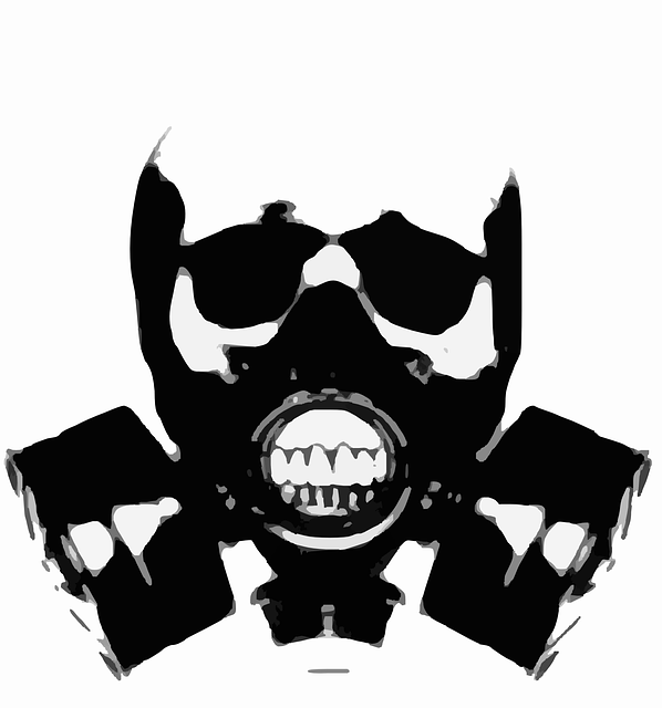 Gas Mask, Silhouette, Skull, Crossbones, Bones, Tattoo