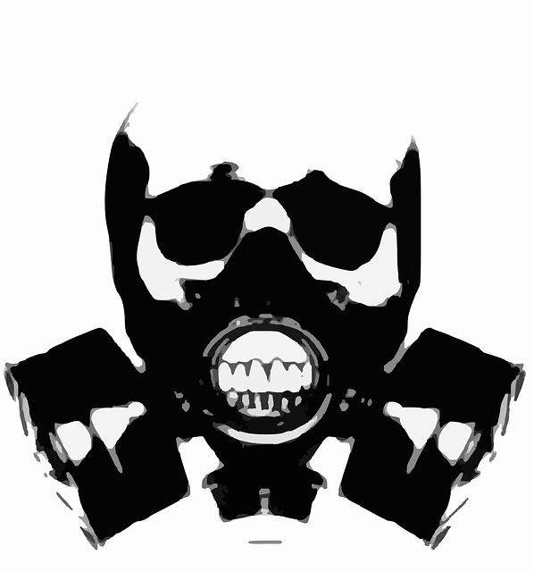Gas Mask, Silhouette, Skull, Crossbones, Bones, Tattoo
