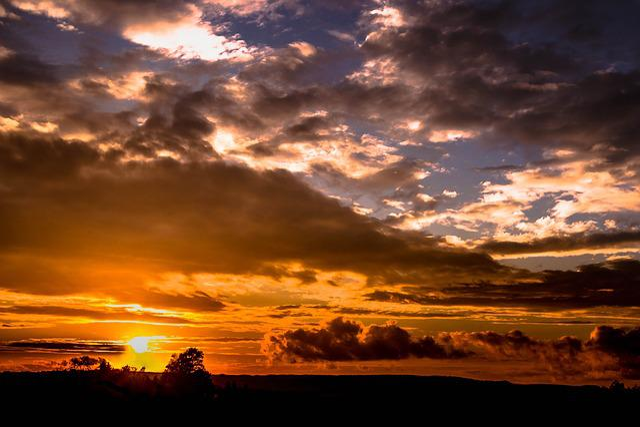 Sunset, Sun, Sky, Clouds, Wolkenspiel, Abendstimmung