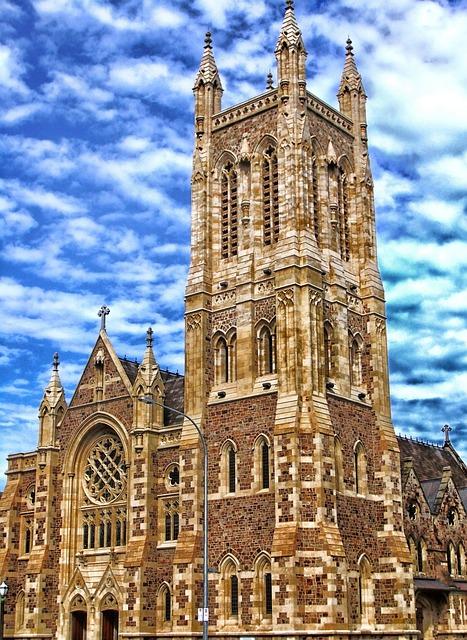 Adelaide, Australia, Sky, Clouds, Church, Tower