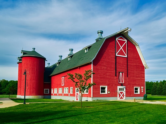 Indiana, Barn, Sky, Clouds, Landscape, Agriculture