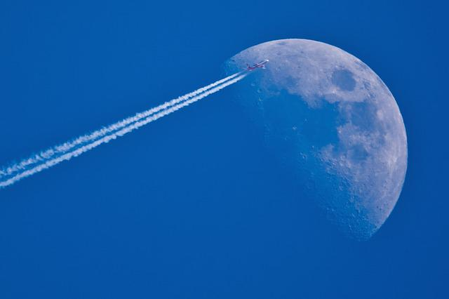 Fly Me To The Moon, Moon, Aircraft, Sky, Contrail