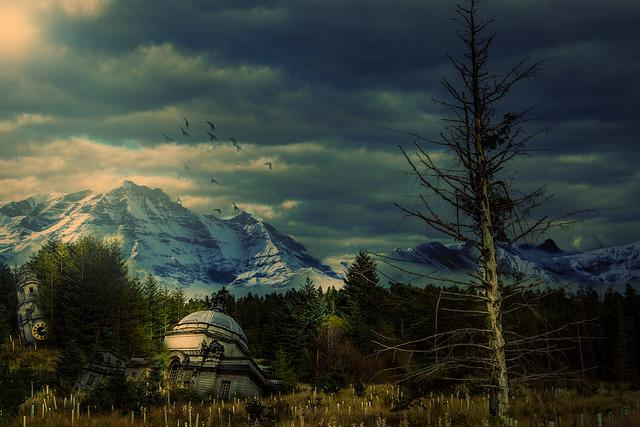 Apocalyptic, Trees, Forest, Buildings, Mountains, Sky