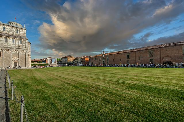 Grass, Outdoors, Panoramic, Sky, Architecture, Pisa