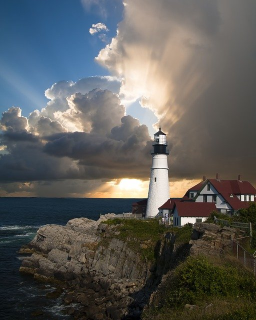Lighthouse, Beacon, Direction, Sunlight, Clouds, Sky
