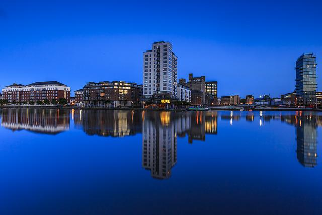 Dublin, Night, Blue, City, Urban, Cityscape, Sky