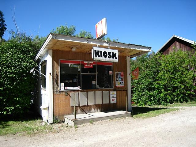 Värmland, Kiosk, Old, Sky Blue, Blue, Shrubs, Green