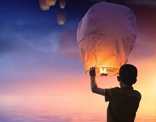 Balloon, Chinese Lanterns, Lantern, Shining, Sky, Boy