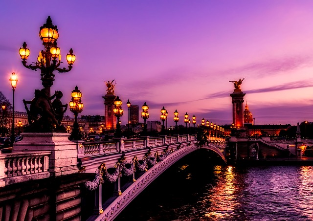 Paris, France, Bridge, River, Water, Sunset, Sky