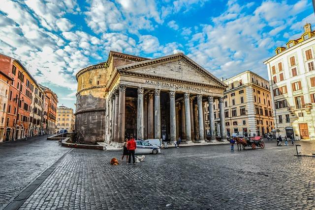 Rome, Pantheon, Piazza, Rotonda, Sky, Horse, Carriage