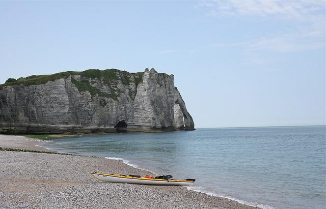 Coast, Cliff, Etretat, Sky, Boat, Kajak