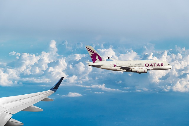 Qatar Airways, Clouds, Flying, Aircraft, Sky, Wing
